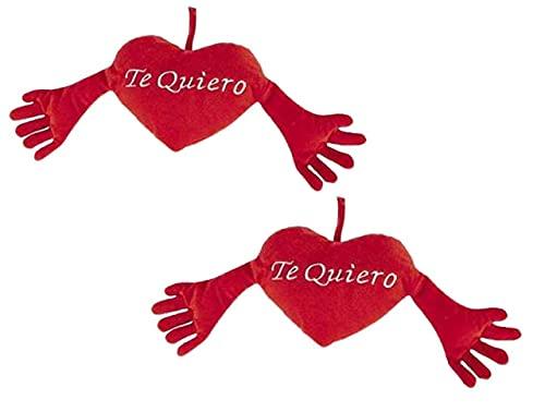 Pack de 2 Cojin Rojo Forma de Corazon con Brazos de 40cm con Frase de Amor