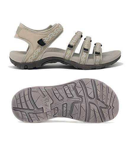 Viakix Hiking Sandals Women - Athletic Comfortable Walking Sandle with Arch Support for Outdoors Water Sport