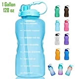 Giotto Large 1 Gallon/128oz Motivational Water Bottle with Time Marker & Straw, Leakproof Tritan BPA Free, Ensure You Drink Enough Water Daily for Fitness, Gym and Outdoor Sports-Light Blue