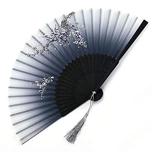 TreeLeaff - Abanico de mano para mujer de 4 piezas, tela de seda y abanico plegable de bambú tallado hueco, estilo chino con borlas para regalos, decoración de pared, cosplay, recuerdos de boda