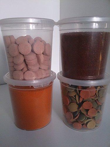 Etapica Lot de 4 Pots de 150 ML (Mix Disc + Neon granulate + 100 pastilles + Nauplies d'artémias déshydratés)