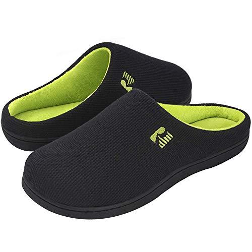 RockDove - Pantofola da Uomo in Memory Foam Bicolore, 46/47 EU, Nero e Lime