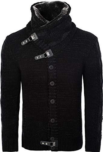 Karl´s People Herren Strickjacke Pullover Cardigan K-130, Grey, XXL,  Black