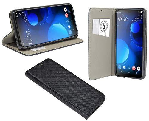 cofi1453® Buch Tasche Smart kompatibel mit HTC Desire 19+ Plus Handy Hülle Etui Brieftasche Schutzhülle mit Standfunktion, Kartenfach Schwarz
