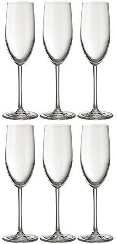 Flûte à champagne Jamie Oliver Waves 6 x 250 ml. Verre en cristal de Prosecco haut et ultra-contemporain. Lot de beaux verres avec longue verrerie moderne pour des occasions spéciales. Mariage