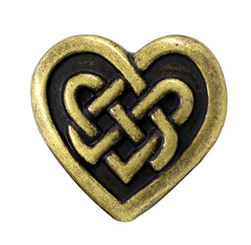 Bezelry 12 Pieces Celtic Heart Love Knot Metal Shank Buttons. 19mm (11/16 inch) (Antique Brass)