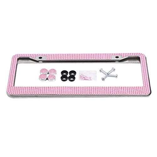 XSXCQ 2 Pcs License Plate Frames Stainless Steel Durable Stylish Shining Rhinestone Car License Plate Holder Decorative Car Accessories,Pink