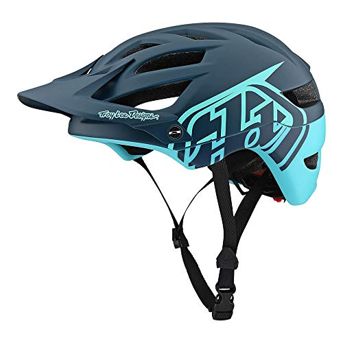 Troy Lee Designs Adult | Trail | Enduro | Half Shell A1 Classic Mountain Biking Helmet with MIPS (Small, Dark Gray/Aqua)
