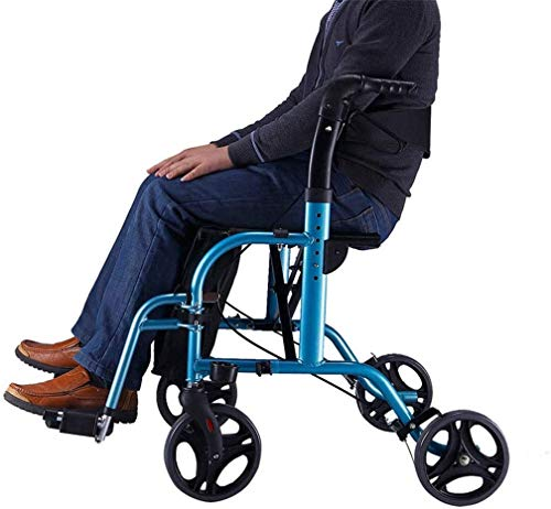 SAIYI Ältere faltbaren Rollstuhl for Oma Opa GIF Compact Easy Rollator Wheeled Gehhilfe - FoldableWalking Rahmen mit Sitz und Pedal Stabile Aluminium for senioren Adjustable Grip Heigh Comfort Drive
