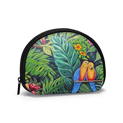 Mini-Aufbewahrungstasche, Muschel-Geldbörse, kleine Tasche, tragbare Brille, Papagei, Gras, Geldbörse, Schmucktasche, Kosmetiktasche