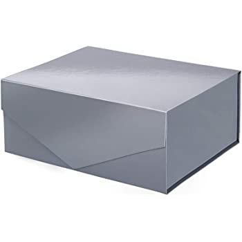 PACKHOME Gift Box 9.5x7x4 Inches, Gift Box for Men, Rectangle Collapsible Box with Magnetic Lid for Gift Packaging (Glossy Blue Gray)