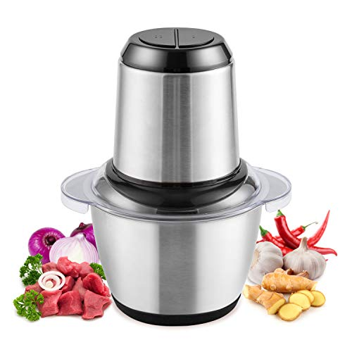 Food Chopper, Mini Food Processor Electric Meat Grinder for Meat, Vegetables, Fruits with 1.2L Stainless Steel Bowl and 4 Sharp Blades, 300W