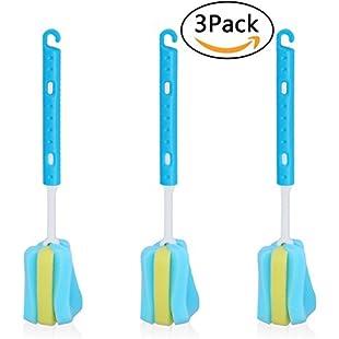 Customer reviews Stretchable Sponge Brushes 3 Set Long Handle Bottle Brushes with Removable Sponge Head L.&G.:Interdir