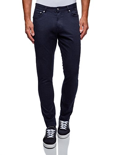 oodji Ultra Uomo Pantaloni Slim Fit in Cotone, Blu, 46