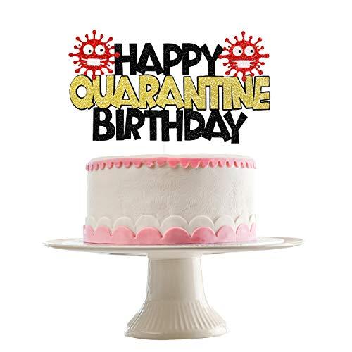 Quarantine Happy Birthday Cake Topper- Gold and Black Glitter, Quarantine Birthday Decorations, Quarantined Birthday Cake Topper