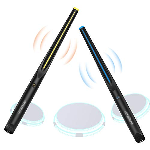 Air Drum Sticks Baquetas electrónicas portátiles con luz, batería de conexión inalámbrica Bluetooth, 3 modos Baquetas portátiles para principiantes Práctica Hardware de música inteligente