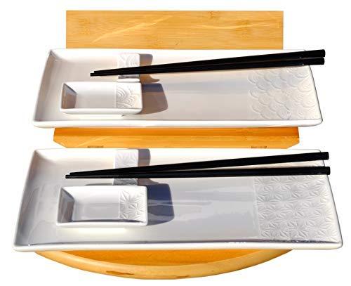 Wave et étoile Blanc Ensemble de sushi pour 2