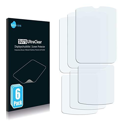 Savvies 6X Schutzfolie kompatibel mit Motorola Razr V3i Bildschirmschutz-Folie Ultra-transparent