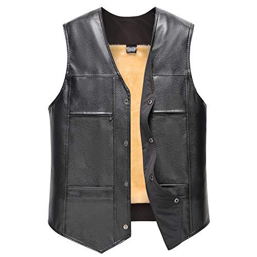 Heren Warmer Dik Lederen Gilet Jack, Herfst Winter Casual Dagelijkse Pocket V-hals Pure Kleur Waistcoat Vest Jas Top