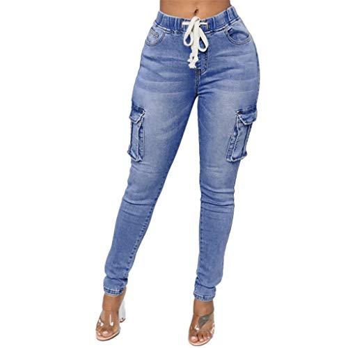 FRAUIT Mode Damen Taillenbund Jeans Hose Tägliche Skinny Jeans Denim High Waist Slim Leggings Röhrenjeans Bleistifthose Bleistift Hose,