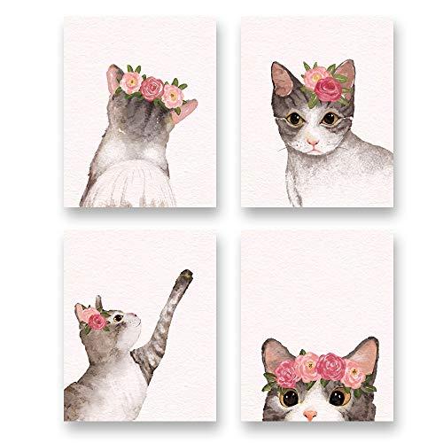 "Watercolor Lovely Cat Art Print- Flower Pet Cat Canvas Wall Art-(8""X10""X 4 pcs, Unframed)-Modren Animal Themd for Kids Bedroom Pet Shop Decoration"