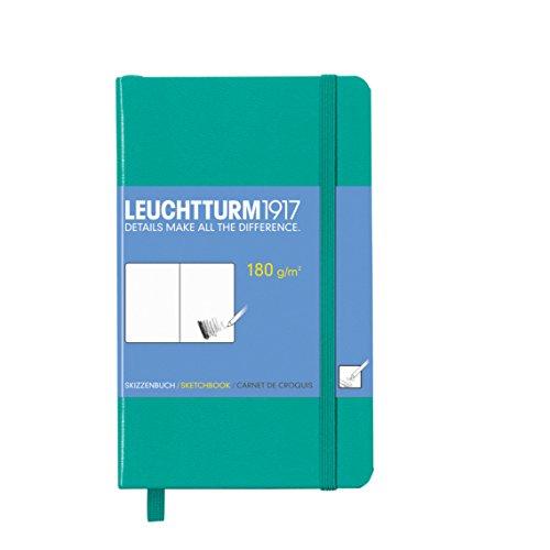 LEUCHTTURM1917 344993 Skizzenbuch Pocket (A6), Hardcover, 96 Seiten (180 g/qm), Smaragd
