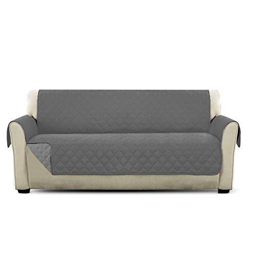 PETCUTE Fundas de Sofa Lujo Cubre para Silla Protector de sofá o sillón, Dos o Tres plazas Gris 3 plazas