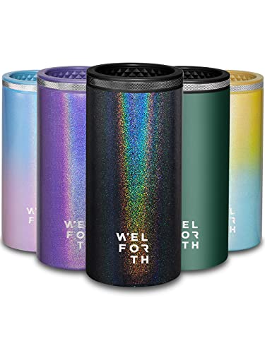 Welforth Slim Can Cooler Thermocoolers with Double-walled Stainless Steel for 12oz Skinny Can Coozie (GLITTER BLACK)