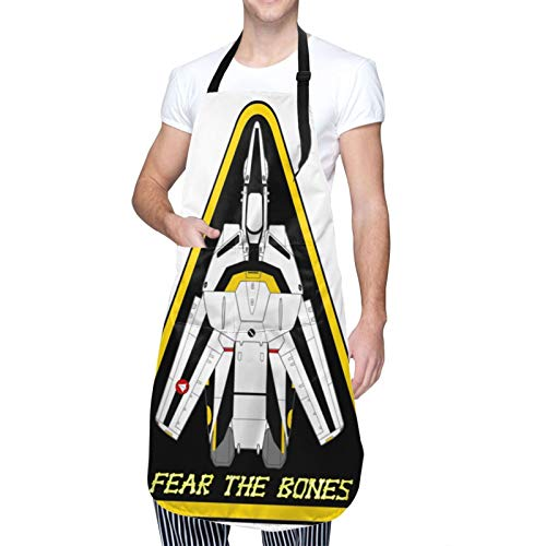 Macross Robotech Roy Focker Waterproof Aprons,Adjustable Bib Aprons with Pockets Cooking Kitchen Chef Aprons for Men Women