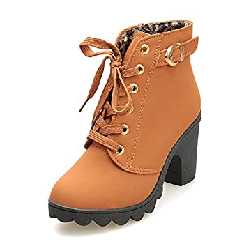 Aniywn Ankle Boots,Women Winter Chunky High Heels Boots Fall Combat Lace Up Booties Platform Shoes Yellow,38