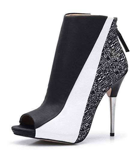 CAMSSOO Women's Open Toe Stiletto Bootie Zipper High Heels Heeled Ankle Boots Black Size US9 EU40