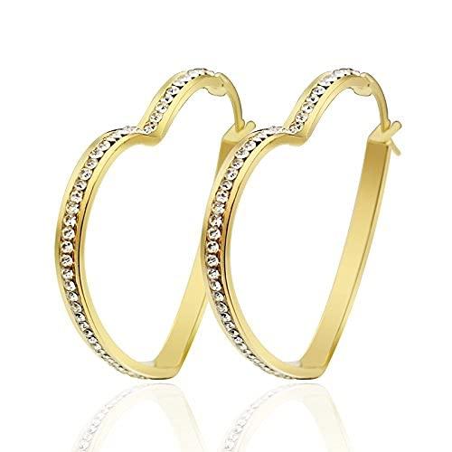SMEJS Mujeres Acero inoxidable Amor Corazón Circón cúbico Diamante simulado Chapado en oro Huggie Bling Pendientes de aro grandes