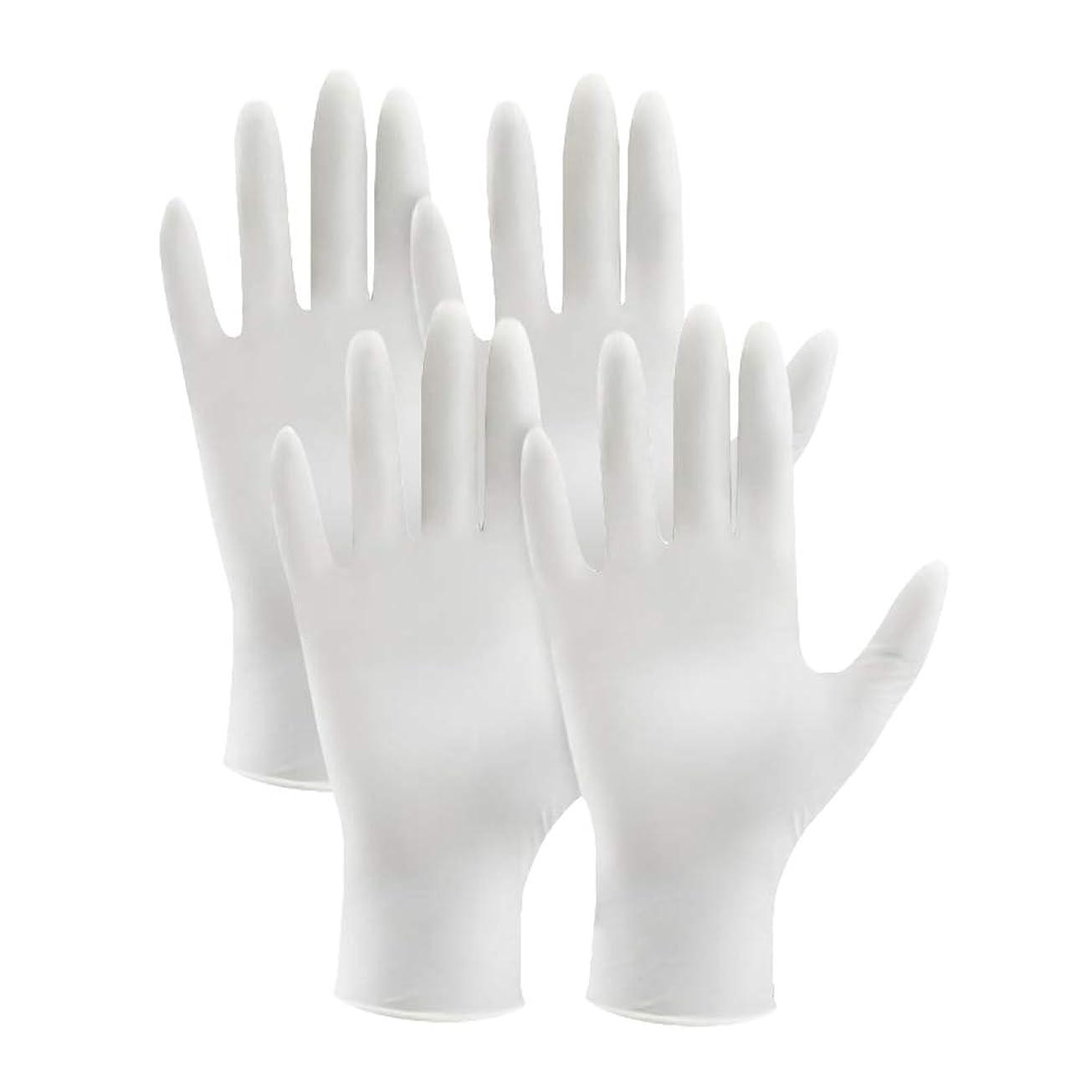 首謀者士気価値のないsupbel ニトリル手袋 使い捨て手袋 粉あり まるで素手の様な感覚で作業ができる 極薄 ゴム手袋 白 ホワイト 左右兼用 品質 作業薄手手袋 4枚入り