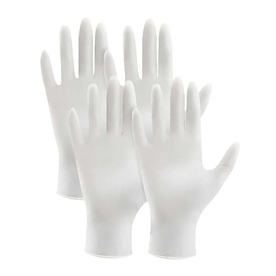 真実話をする白いライフ小屋 使い捨てラテックス手袋 ニトリル手袋 4枚入り ニトリルゴム手袋 白 グローブ ゴム手袋 左右兼用 作業用 極薄