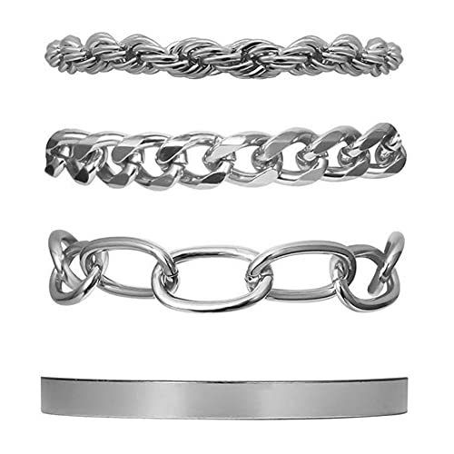 Paquete de 4 pulseras para hombre, estilo de cadena de eslabones curvos/pulsera de cadena cubana/pulsera de cadena resistente para hombre, chapado en plata/acero inoxidable 316L/plata