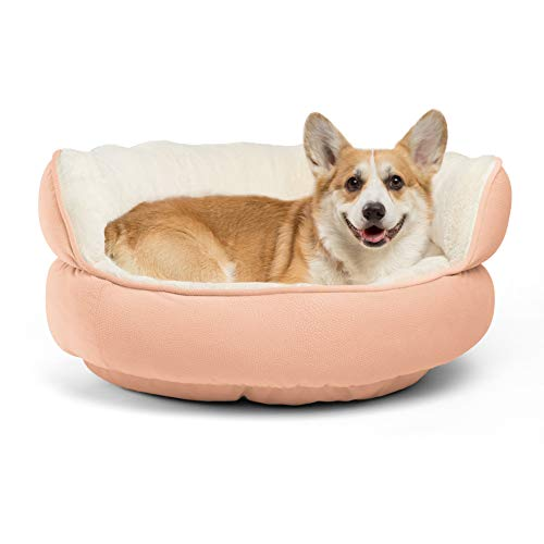 Best Friends by Sheri Pet Throne Round Dog Bed - Orthopedic Cat, Dog, & Puppy Sherpa Cuddler for Small & Medium Pets with High Walls for Security & Comfort, Machine Washable (Jumbo Size in Rose)