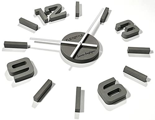 3D Wanduhren DIY große Wanduhr 50-75CM (Dicke 19MM!) 3D Wanduhr Modern Design EKO Wanduhren Wandtattoo Dekoration Uhren für Büro Wohnzimmer Schlafzimmer Dekoartikel Quarzuhr (Grau, HDF)