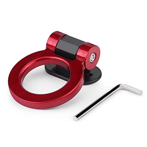 KIMISS ABS plastica auto gancio rimorchio gancio anello di traino barre di traino gancio decorazione universale 4 colori con chiave(Red /)