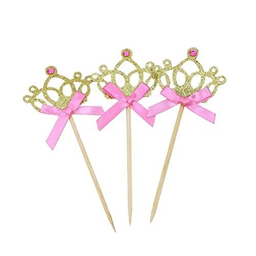 TOYANDONA 20 Stücke Glitzer Krone Kuchen Topper Cupcake Picks Kuchendeko für Baby Mädchen Prinzessin Hochzeit Party Kindergeburtstag Deko (Golden)
