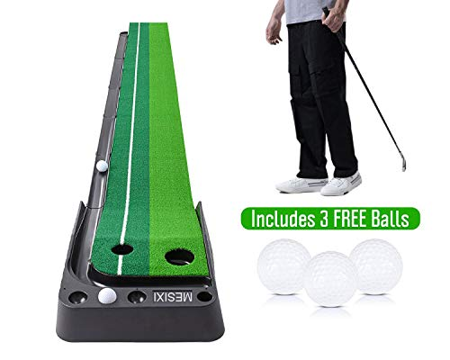 MESIXI Indoor|Outdoor Golf Putting Green Mat Portable Baffle Plate Auto Ball Return System Mini Golf Practice Training Aid Equipment Game and Golf Gifts for Men Home Office Outdoor Use