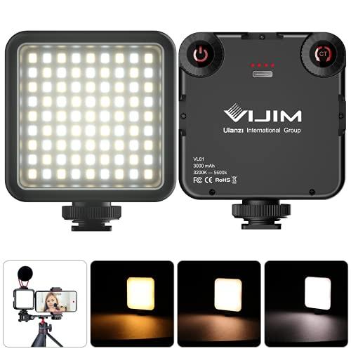 VIJIM 81 Luz de Video LED Temperatura de Color Luz de Cámara Ajustable Luz de Fotografía + 3200k-5600k CRI95 para iPhone dji Osmo Móvil 3 Pocket Vlog Light 3000mAh Batería Tipo-C