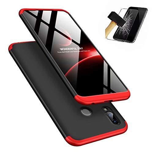 MISSDU kompatibel mit Premium Hart PC 360 Grad Hülle Huawei Honor Play Hülle + Panzerglas,3 in1 Handytasche Handyhülle Schutzhülle Cover - Schwarz+Rot