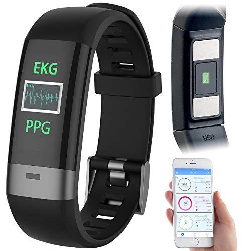 Newgen Medicals Pulsuhren: Fitness-Armband, Blutdruck-/Herzfrequenz-/EKG-Anzeige, Bluetooth, App (Smartwatch-Fitnessuhr)