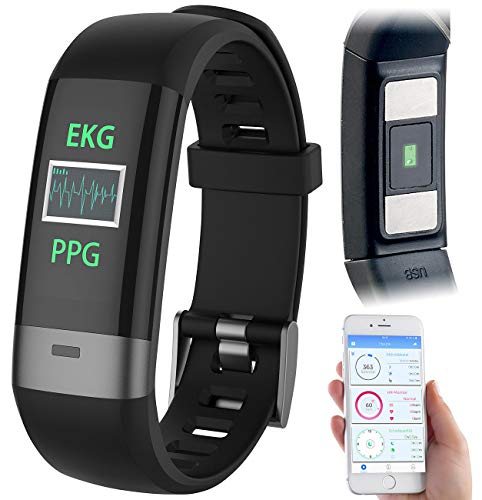 newgen medicals Fitness Tracker: Fitness-Armband, Blutdruck-/Herzfrequenz-/EKG-Anzeige, Bluetooth, App (EKG Uhr)