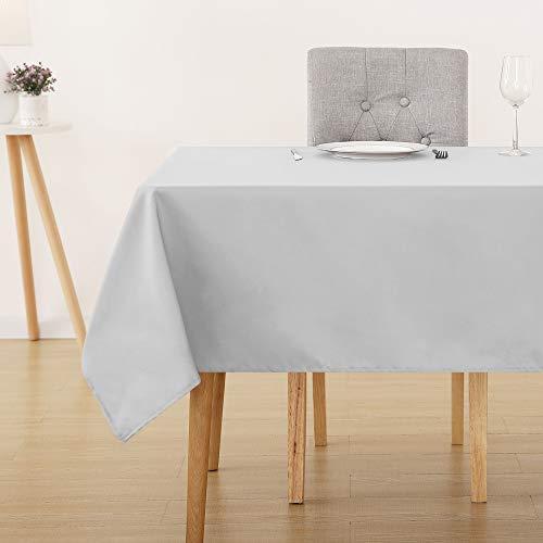 Deconovo Tischdecke Wasserdicht Tischwäsche Lotuseffekt Tischtuch 130x220 cm Grau Weiß