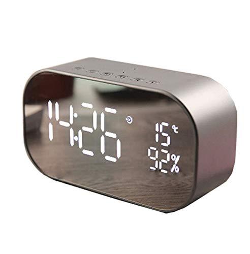 XZHH wekker spiegel luidspreker dubbele kop Bluetooth klok bureau metaal zilver 14 x 5 x 8 cm