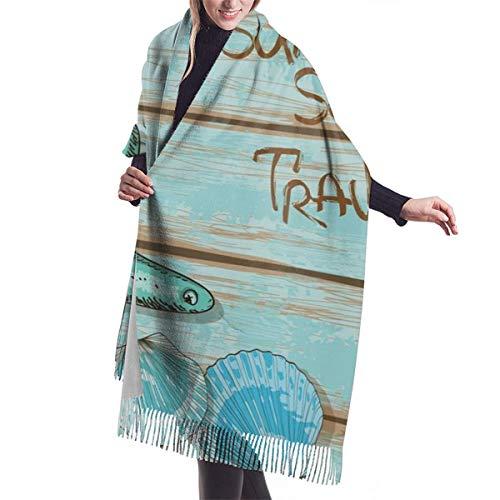 YANAIX Damen Herbst klassischer Winterschal, Sommersaison Sea Travel Retro Boards Of Ship Deck Seil Jakobsmuscheln, Schal Warm Soft Chunky Large Blanket Wrap Schal Schals