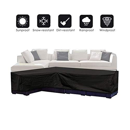 NINGWXQ L-vormige Cover Bank van de Hoek Cover Dust-proof Waterdichte Opvouwbare Patio Cover, Black, 4 Maten (Color : Black, Size : 300X300X70CM)