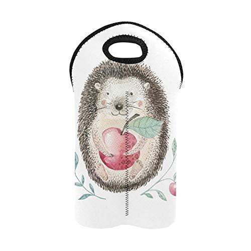 Bolsas de vino para botellas de vino Cute Little Hedgehog Animal Wine Carrying Tote Portabotellas doble Bolsa de vino recargable Soporte de botella de vino de neopreno grueso Manti