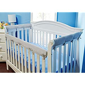 Everyday Kids Padded Baby Crib Rail Cover Set- Crib Rail Teething Guard – 3-Piece Front and Side Padded Rail Cover- with Sewn Ties for Secure Fit – Soft Microfiber Polyester